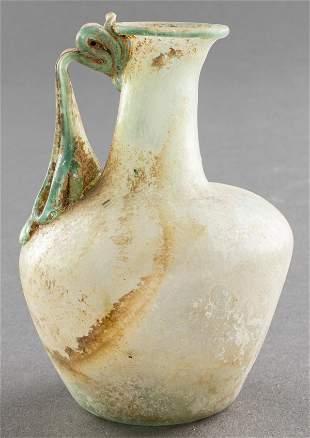 Ancient Roman Glass Unguent Bottle W Handle