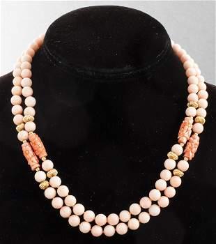 Vintage 14K Gold Carved Angel Skin Coral Necklace