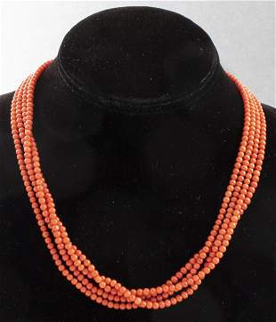 Vintage Four Strand Coral Beaded Necklace