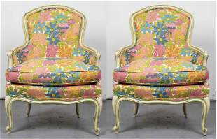 Modern Rococo Style Upholstered Armchairs, Pair