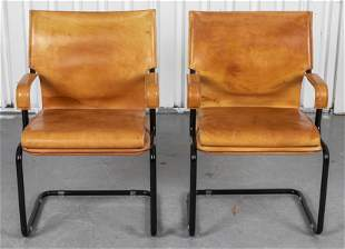 """Marcatre Leather Cantilever """"Uno"""" Armchairs, 2"""