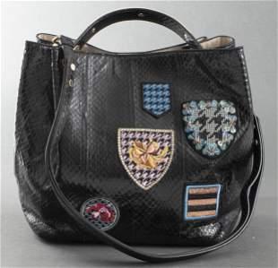 Dior Black Snake-Print 'Diorific' Patch Handbag