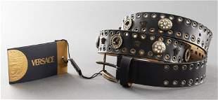 "Gianni Versace Black Leather Grommet ""Medusa"" Belt"