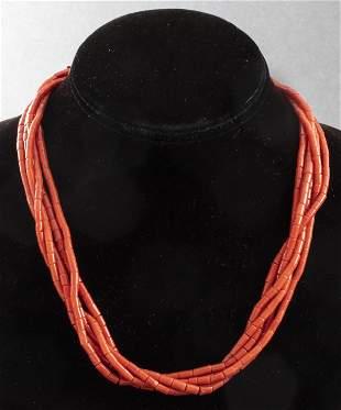 Vintage Navajo Silver Multi-Strand Coral Necklace