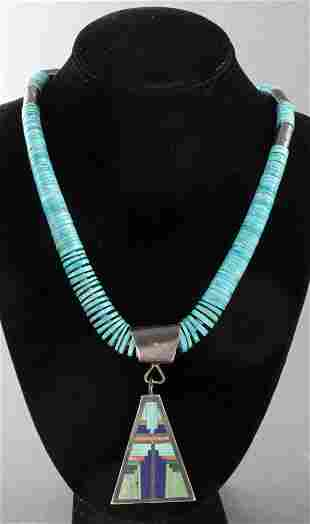 S.C. Medina Navajo Silver & Turquoise Necklace