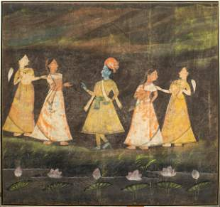 Indian Pichhwai Painting on Cloth Shrine Hanging