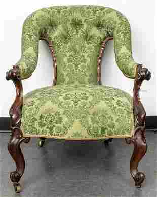 American Rococo Damask Upholstered Armchair
