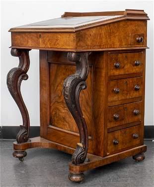 Victorian Carved Walnut Davenport Desk