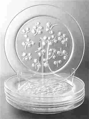 """Lalique """"Lily of the Valley"""" Glass Plates Set of 6"""