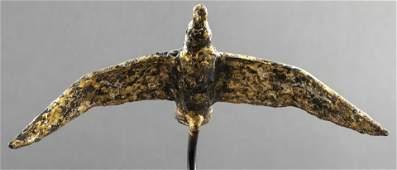 Gilt Metal Sculpture of a Flying Bird