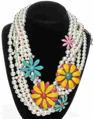 Chanel Faux-Pearl & Enameled Flower Necklace