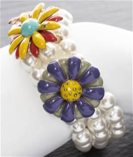 Chanel Faux-Pearl & Enameled Flower Bracelet