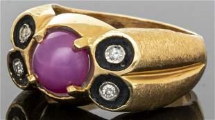 14K Yellow Gold Pink Star Sapphire & Diamond Ring
