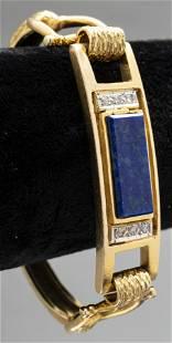 14K Yellow Gold Lapis Lazuli & Diamond Bracelet