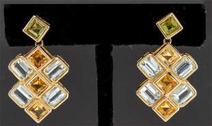 14K Gold Aquamarine, Citrine & Peridot Earrings