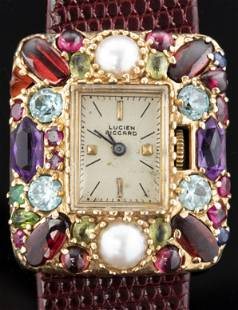 Lucien Piccard 14K Gemstone & Pearl Ladies' Watch