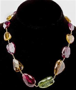 14K Yellow Gold Graduated Tourmaline Necklace