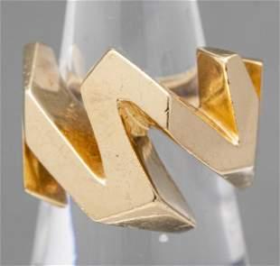 Vintage 14K Yellow Gold Geometric Zig Zag Ring