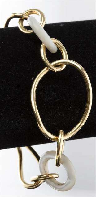 Italian 18K Yellow Gold & Mother-Of-Pearl Bracelet
