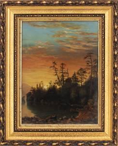 """Sanford Gifford """"Landscape at Sunset"""" Oil on Board"""