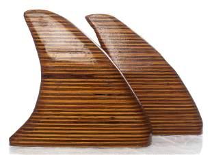 """Mid-Century Modern Wood """"Shark Fin"""" Sculptures, Pr"""