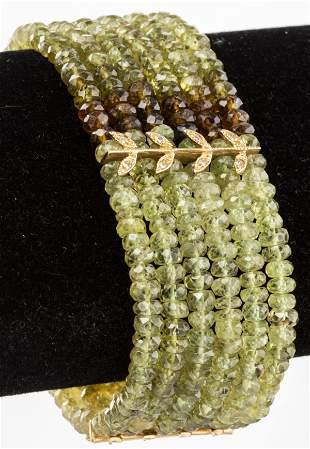 14K Peridot, Quartz, Fluorite, Diamond Bracelet