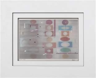 "Yaacov Agam ""Agamograph"" Judaica Op Art, 1989"