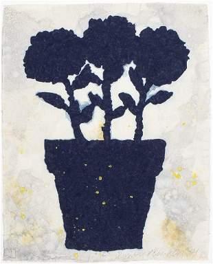 """Donald Baechler """"Flower Pot"""" Pochoir in Colors"""