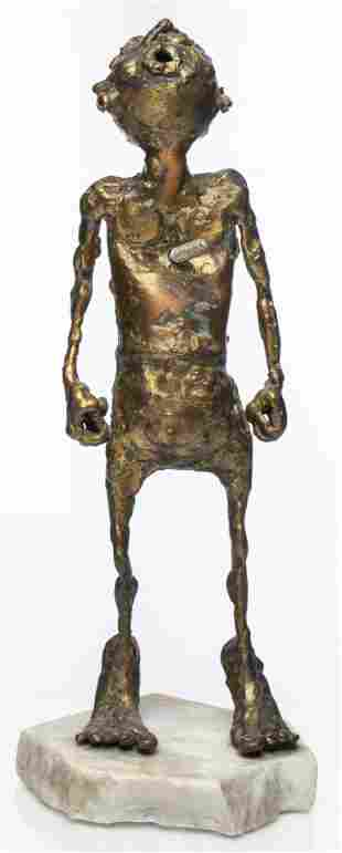 Brutalist Modern Bronze Figural Sculpture