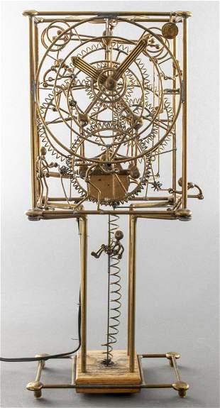 Rare Whimsical Gilt Metal Autotrol Skeleton Clock