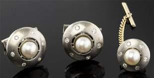14K Gold Pearl & Diamond Dome Cufflinks & Tie Tac