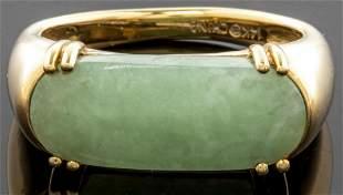 Chinese 14K Yellow Gold & Jade Ring