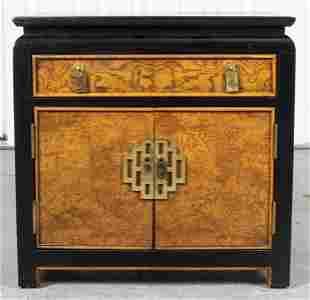 Chinoiserie Ebonized Burlwood Cabinet