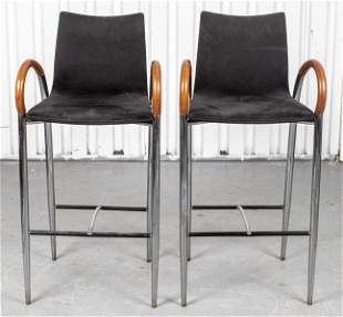 Italian Modern Leather Upholstered Bar Stools, Pr