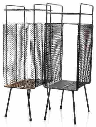 Mathieu Mategot Attr. Perforated Side Tables, Pr