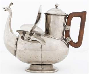 Peacock Form Silver-Plated Teapot