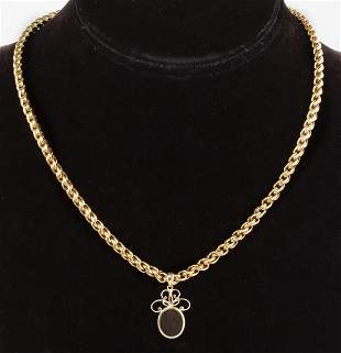 18K Yellow Gold Necklace w 14K Labradorite Pendant