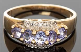 Modern 10K Yellow Gold, Tanzanite & Diamond Ring