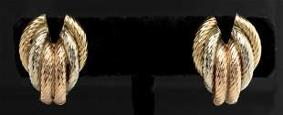 14K Tri-Gold Hollow Textured Earrings