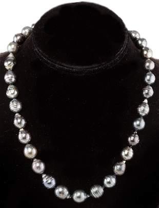 Gray Baroque Pearl Necklace, 14K Clasp