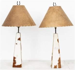 Modern Cowhide Table Lamps, Pair