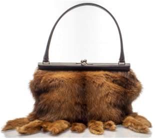Dolce & Gabbana Fox Fur And Leather Handbag