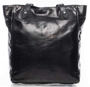 Ralph Lauren Black Lizard-Print Tote Handbag
