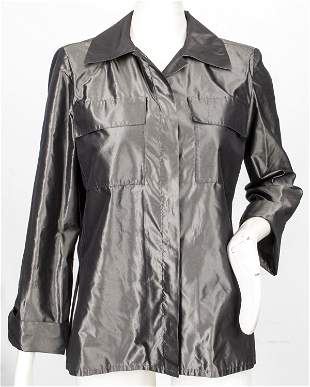 Yves Saint Laurent Rive Gauche Grey Silk Blouse