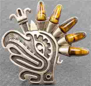 Mexican Silver Tiger's Eye Eagle Head Brooch