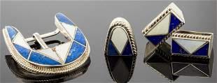 Navajo Silver Lapis & Shell Belt Buckle 4 pcs.