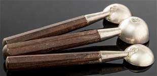 William Spratling Silver & Wood Salt Spoons Set 3