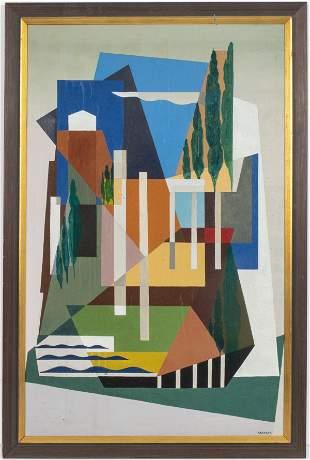 Koehler Signed Cubist Landscape Oil On Canvas