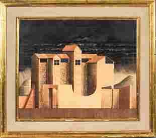Erik Roos Building In Landscape Pencil, Watercolor