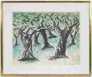 Ben Zion Forest Landscape Watercolor